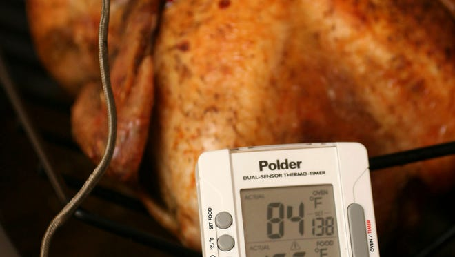 However you roast your turkey, use an instant thermometer inserted at the innermost part of the thigh (without touching bone) to determine when your turkey is done. The meat needs to hit 165 F for safe eating.