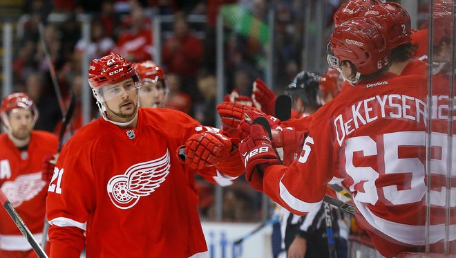 Red Wings left wing Tomas Tatar celebrates his goal against the Sabres in the first period on Tuesday.