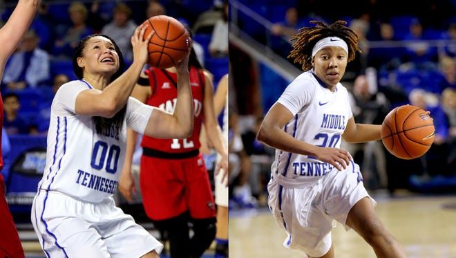 (Left) MTSU's Alex Johnson (00) goes up for a shot during the game against WKU, on Saturday, Jan. 30, 2016, at MTSU, in Murfreesboro, Tenn.. (Right) MTSU's Ty Petty (20) brings the ball down the court during the game against WKU, on Saturday, Jan. 30, 2016, at MTSU.