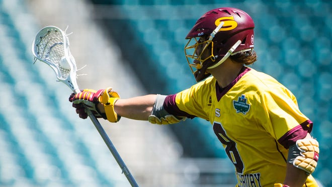 Salisbury University midfielder Preston Dabbs (8) clears the ball against Tufts University in the NCAA Divison 3 Finals on Sunday, May 29 at Lincoln Financial Field in Philadelphia, PA.