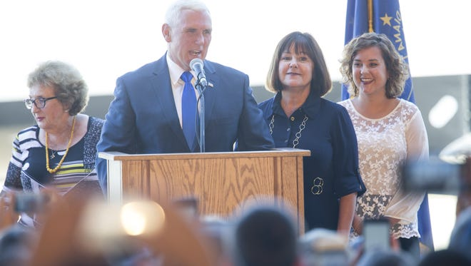 Mike Pence speaks to about 400 well-wishers at a homecoming rally on Saturday, July 16, 2016, at the Indianapolis Executive Airport in Zionsville for Pence, who is the running mate of presumptive GOP presidential nominee Donald Trump, Zionsville, Saturday, July 16, 2016.