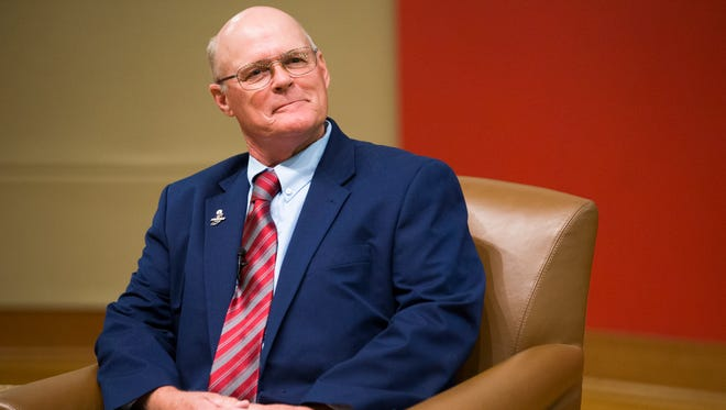 Libertarian Rex Bell, at a forum for the three main candidates for Indiana Governor, sponsored by Radio One and The Indianapolis Recorder, Central Library, Indianapolis, Sunday, Sept. 25, 2016.