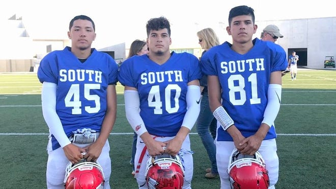 Cobre High All-South football players, from left, are Andru Sanchez, Randy Maynes and Joseph Gallardo.