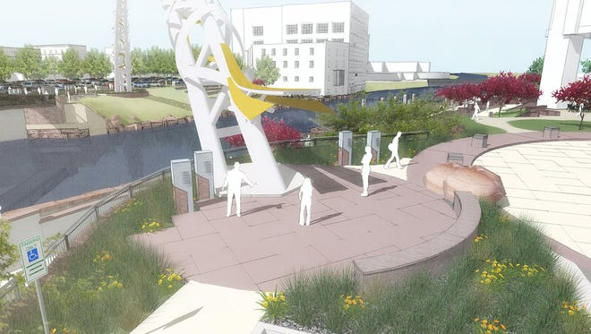 Rendering of Metli Plaza and the Arc of Dreams.