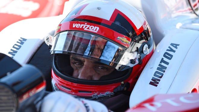 IndyCar Series driver Juan Pablo Montoya (2) during practice for the Iowa Corn 300 at Iowa Speedway.