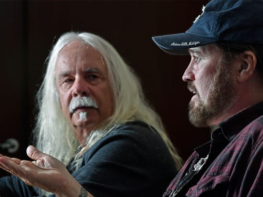 """Songwriter Don Von Tress listens as Billy Ray Cyrus talks about the 25th anniversary of """"Achy Breaky Heart"""" that he wrote. Billy Ray has re-recorded it......in several different versions.Wednesday May 3, 2017, in Nashville, TN"""