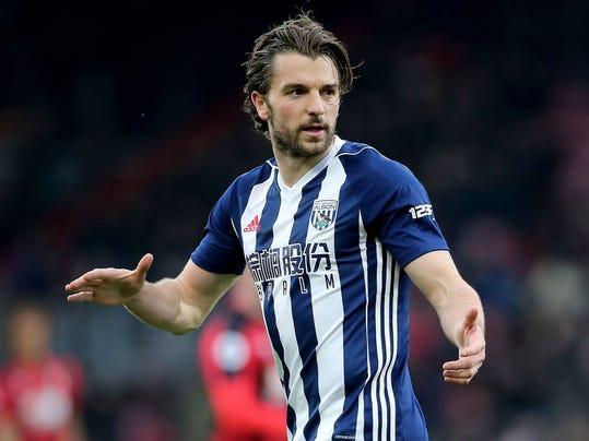 West Bromwich Albion's Jay Rodriguez after scoring against AFC Bournemouth during the English Premier League soccer match at the Vitality Stadium, Bournemouth, England, Saturday March 17, 2018. (Mark Kerton/PA via AP)