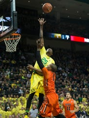 Boucher averages 3.2 blocks a game, the second best
