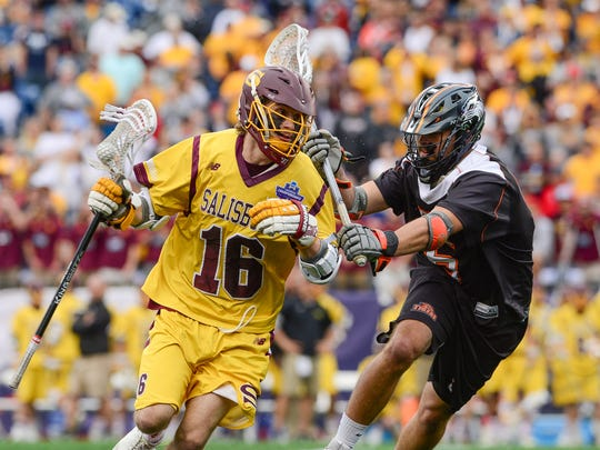 Salisbury University's Josh Melton drives towards the goal against RIT on Sunday, May 28, 2017 during the NCAA Division III National Championships at Gillette Stadium in Foxborough, Mass.