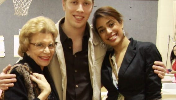 Betty Francis with her real grandson, Blake Chapman and his wife Danai.
