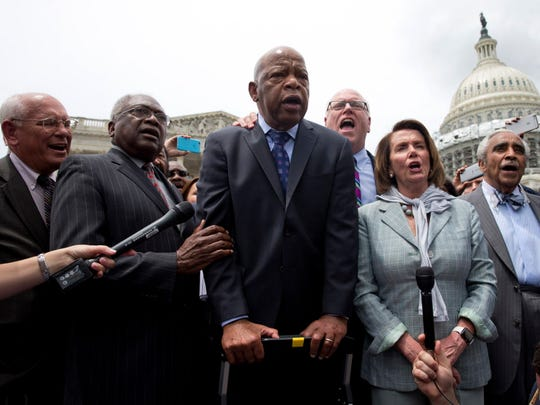 From left, Rep. Paul Tonko, D-N.Y., House Assistant Minority Leader James Clyburn of S.C., Rep. John Lewis, D-Ga., Rep. Joseph Crowley, D-N.Y., House Minority Leader Nancy Pelosi of Calif. and Rep. Charles Rangel, D-N.Y. in Capitol Hill in Washington, D.C.