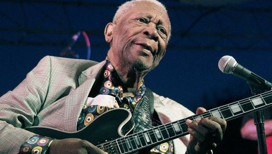 In this file photo taken Aug. 22, 2012, B.B. King performs at the 32nd annual B.B. King Homecoming, a concert on the grounds of an old cotton gin where he worked as a teenager in Indianola, Miss.