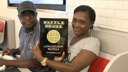 Tuesday morning marked a milestone for Waffle House when one lucky customer ordered the one billionth waffle sold in the company's 60 year history.