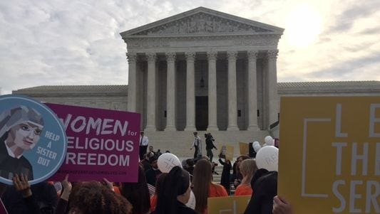 Supporters of religious non-profit organizations rallied outside the Supreme Court during oral arguments last week.