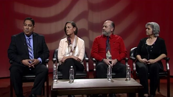 Candidates for Las Cruces Public Schools School Board District 2 recently participated in a forum, aired by KRWG-TV. From L-R, District 2 candidates Terrie Dallman, Ronald Fitzherbert and Allison Smith.