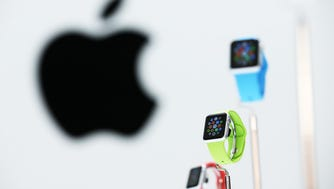 CUPERTINO, CA - SEPTEMBER 09:  The new Apple Watch is displayed during an Apple special event at the Flint Center for the Performing Arts on September 9, 2014 in Cupertino, California. Apple unveiled the Apple Watch wearable tech and two new iPhones, the iPhone 6 and iPhone 6 Plus.  (Photo by Justin Sullivan/Getty Images) ORG XMIT: 508293051 ORIG FILE ID: 455053444