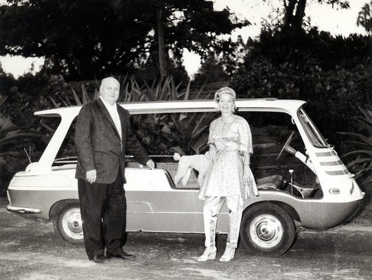Ralph Evinrude and Frances Langford with her 1957 Fiat