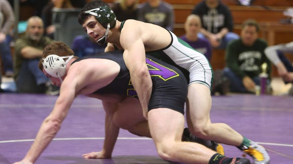 Brewster's Grant Cuomo wrestles Warwick's Ryan Ferro in the 160-pound weight class in the championship round of the New Rochelle Shoreline Wrestling Tournament at New Rochelle High School Jan. 7, 2017. Ferro won the match.