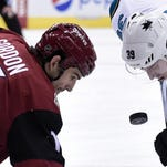 Boyd Gordon, left, had two goals in 65 games for the Arizona Coyotes last year.