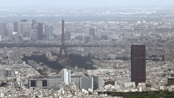 The Eiffel Tower and Montparnasse Tower, seen from the cockpit of a French Transal military aircraft.