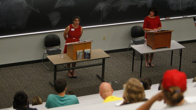 Vicky Woeste, Democratic, and Sally Siegrist, Republican, both candidates for Indiana House 26th District debated each other Thursday on Purdue's campus.
