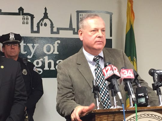Binghamton Police Chief Joseph Zikuski speaks about the murder of Santos Echevarria, during a news conference Tuesday.