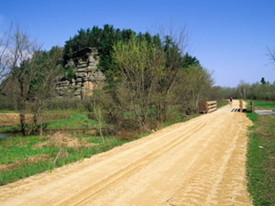 The 400 State Trail travels 22 miles from Elroy to Reedsburg.