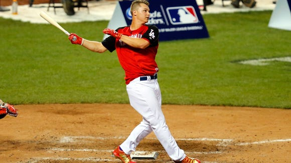 National League outfielder Joc Pederson of the Los Angeles Dodgers at bat during the 2015 Home Run Derby.