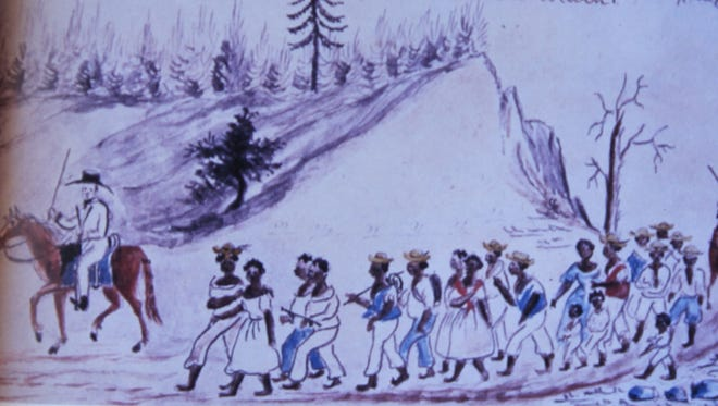 This disturbing drawing done in the 1850s depicts a group of slaves being driven south for sale. The scene is just outside Staunton on what is now U.S. Rt. 11 South.