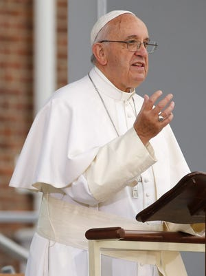 Pope Francis speaks at Independence Hall in Philadelphia on Saturday, Sept. 26, 2015. Francis concludes his tour of the U.S. on Sunday.