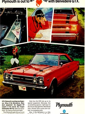 This Plymouth advertisement promoted the brand's powerful GTX back in 1967. With either a 440 or 426 Hemi under the hood, it was a big success.