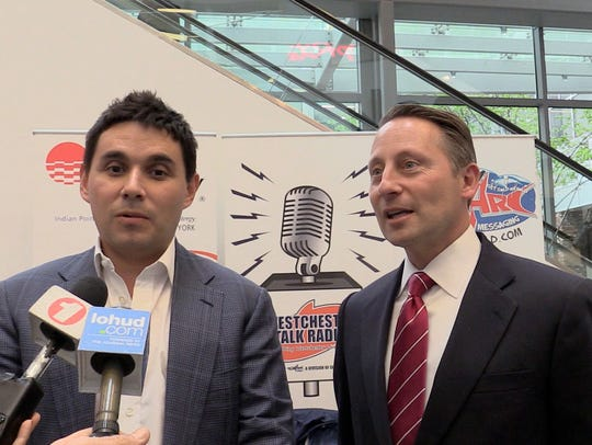 Nicholas Singer of Standard Amusements and former County Executive Rob Astorino in a file photo.