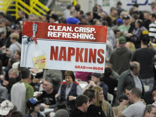 A sign points people to napkins during a past WingFest event at the Benton County Fairgrounds.