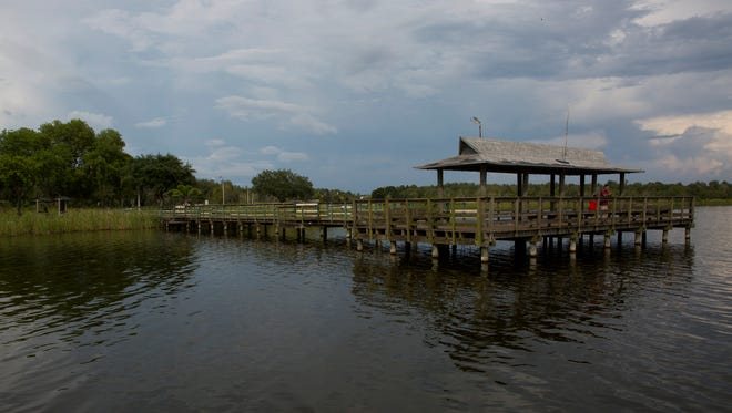 The pier at Ann Olesky Park on Lake Trafford can be seen Monday, July 17, 2017, in Immokalee. A contractor has been hired to tear out the weather-worn and deteriorating dock and replace it. The new pier will take four months to build and will feature gazebos, grills, picnic benches and a solid seawall to keep from losing more grass and park land to erosion.