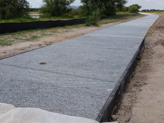 New concrete at La Llorona Park trail