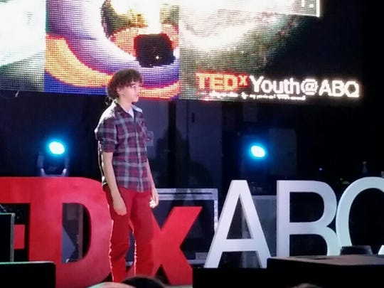 Joshua Goldstein, 13, addresses the audience at Saturday's TEDxYouth event, presented by TEDxABQ. Goldstein, who attends Van Buren Middle School in Albuquerque, co-founded Goody2Shoes, a charity organization that distributes shoes to the city's homeless population.