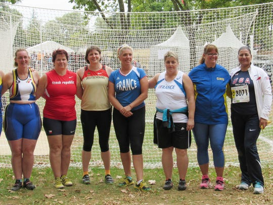 Elizabeth Teague was one of nine finalists competing in the weight throw at this year's World Masters Athletics Championship in France. Teague won the gold.