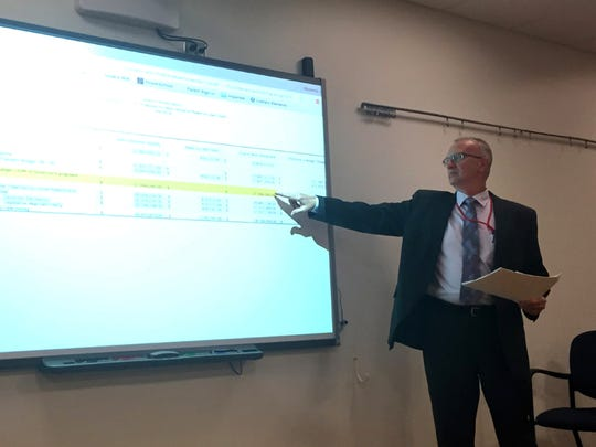 Business manager Curt Richards points to a chart during Monday night's Lebanon school board meeting that shows the district will receive $850,000 less with Governor Tom Wolf's education funding formula than the one passed by the state Legislature.