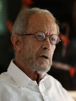 Author Elmore Leonard, 86, speaks during an interview in Bloomfield Township, Mich., in 2012. His website posted an announcement that he died early Tuesday.
