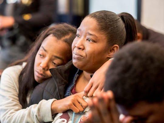 Malyyka Bonner, right, and her cousin Sadareh Pettis, listen as Bonner's son, Javon Coulter, 16, takes a plea agreement for the shooting death of Suliman Ahmed Abdul-Mutakallim, 39, who was shot in the head on June 28, 2015. He died the following day. Judge Megan E. Shanahan presided. He will serve 20 years for involuntary manslaughter with gun specification and aggravated robbery with gun specification. A second teen, Valentino Pettis, also took a plea and will serve 14 years. Judge Megan E. Shanahan presided. Suliman's mom, Rukiye Abdul-Mutakallim, spoke at the hearing, asking to be part of Coulter's life, as well as Bonner's. She said she wants to help him become a better adult.