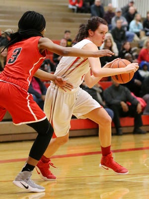 Canton's Erin Hult makes a move for the basket Thursday.