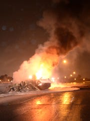 A fuel-tanker fire erupts Thursday morning on I-75 at Outer Drive near the borders of Detroit, Melvindale and Lincoln Park.