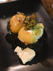 Mango mousse stuffed guavas with a lime cream ceese