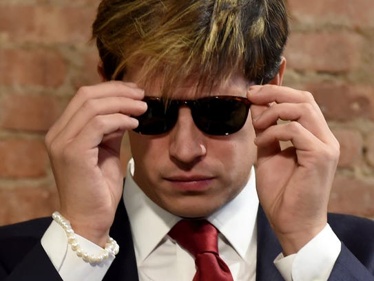 Milo Yiannopoulos at press conference in New York.