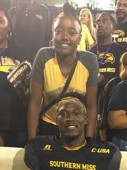 Southern Miss defensive back Tarvarius Moore poses