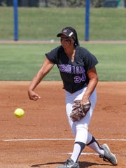 Mission Oak's Mariah Mazon pitches against Selma on Saturday during the Central Section Division IV championship game.