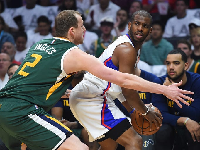 Jazz forward Joe Ingles defends Clippers guard Chris