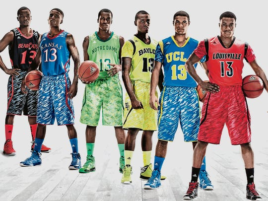 Adidas in 2013 unveiled its new college basketball uniforms for, from left, Cincinnati, Kansas, Notre Dame, Baylor, UCLA and Louisville.