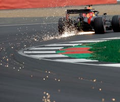 Ferrari driver Sebastian Vettel of Germany steers his car during the third free practice at the Silverstone racetrack, in Silverstone, England, Saturday, July 13, 2019. The British Formula One Grand Prix will be held on Sunday. (AP Photo/Luca Bruno)