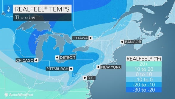 Bitter cold is expected to chill the Lower Hudson Valley on Thursday and Friday.